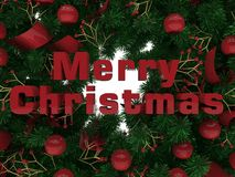 Merry Christmas - branches card. 3D render illustration of a Merry Christmas branches composition. The composition makes use of multiple red globes and a red Royalty Free Stock Image