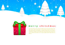 Merry Christmas bright blue sky and white snow aro Royalty Free Stock Photography