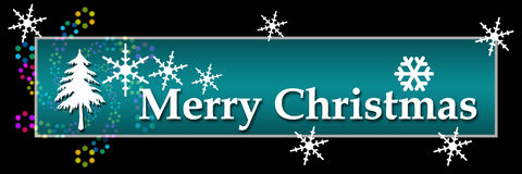 Merry Christmas Bright Colorful Black Horizontal Royalty Free Stock Images