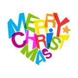 Merry christmas bright colors heart shape typography Royalty Free Stock Photo