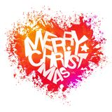Merry christmas bright colors watercolor heart Stock Photo