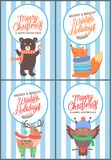 Merry Christmas and Bright Winter Days 70s Card. Merry Christmas and bright winter days 70s postcard with congratulations from cute animals in knitted clothes Stock Images