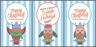 Merry Christmas and Bright Winter Days 60s Card. Merry Christmas and happy winter days 60s postcard with cute owl in knitted hat sitting on twig. Vector vector illustration