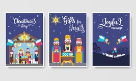 Merry Christmas brochure cards set. birth of Christ template of flyear, magazines, posters, book cover, banners. Layout vector illustration