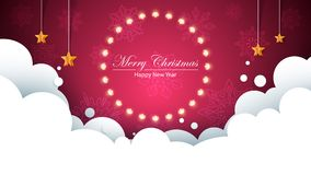 Merry christmas bulb yellow garland on the flakes background. Bulb, star, snow, cloud. Vector eps 10 Stock Photography