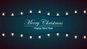 Merry christmas bulb yellow garland. Royalty Free Stock Photography