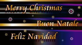 Merry Christmas, Buon Natale and Feliz Navidad Royalty Free Stock Photos