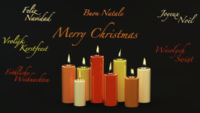 Merry Christmas with burning candles Royalty Free Stock Photography