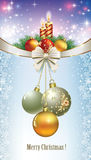 Merry Christmas with burning candles and Christmas balls Royalty Free Stock Photo