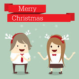 Merry christmas businessman and businesswoman happy in work with Royalty Free Stock Images
