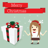 Merry christmas businesswoman happy in work Royalty Free Stock Photography