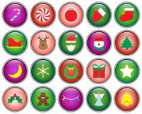 Merry Christmas - Button Icons. Vector Easy-To-Use 20 Colorful Merry Christmas Isolated Flat Icons As Buttons With Reindeer, Santa Claus , Snowman Involving In stock illustration