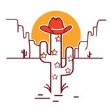 Merry Christmas cactus illustration with garland and cowboy western hat royalty free illustration