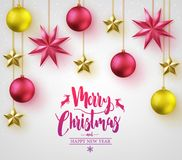 Merry Christmas Caligraphy with Simple 3D Different Colored Christmas Balls. Merry Christmas Calligraphy with Simple 3D Different Colored Christmas Balls and Royalty Free Stock Photos