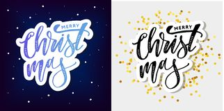 Merry Christmas Calligraphic Inscription Decorated with Golden. Merry Christmas Calligraph Inscription Decorated with Golden royalty free illustration