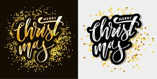 Merry Christmas Calligraphic Inscription Decorated with Golden. Merry Christmas Calligraph Inscription Decorated with Golden vector illustration
