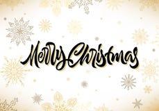 Merry Christmas calligraphic hand drawn lettering with snowflakes. Merry Christmas calligraphic hand drawn lettering with snow vector illustration