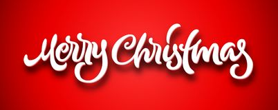 Merry Christmas calligraphic hand drawn lettering with volume on red background Stock Photo
