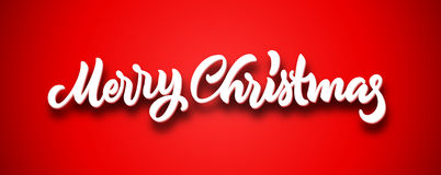 Merry Christmas calligraphic hand drawn lettering with volume on red background Royalty Free Stock Photos