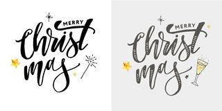 Merry Christmas Calligraphic Inscription Decorated with Golden. Merry Christmas Calligraph Inscription Decorated with Golden stock illustration