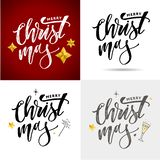 Merry Christmas Calligraphic Inscription Decorated with Golden. Merry Christmas Calligraph Inscription Decorated with Golden royalty free stock photography