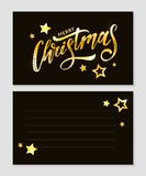 Merry Christmas Calligraphic Inscription Decorated with Golden Stars and Beads. Merry Christmas Calligraphic Inscription Decorated with Golden Stars stock illustration