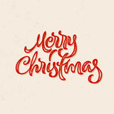Merry Christmas calligraphic lettering card with letterpress style Royalty Free Stock Photography