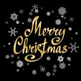 Merry Christmas calligraphic lettering with snow-flakes. Vector. Merry Christmas calligraphic lettering with snow-flakes on black background. Vector card vector illustration