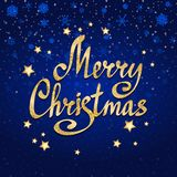 Merry Christmas calligraphic lettering with stars. Vector card. Merry Christmas calligraphic lettering with gold stars on blue background. Vector card template vector illustration