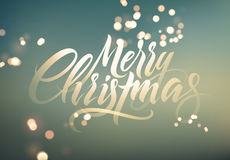 Merry Christmas. Calligraphic retro Christmas greeting card design on blurry background. Vector illustration. Eps 10.