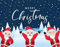 Merry Christmas calligraphic with santa characters vector illustration