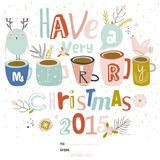 Merry Christmas Calligraphic And Typographic Background. Vintage Merry Christmas And Happy New Year Calligraphic And Typographic Background. Greeting stylish Stock Illustration