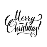 Merry Christmas Calligraphy. Greeting Card Black Typography on White Background. Stock Photo