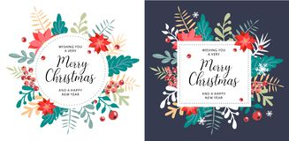 Christmas and new year element, poster for your design. royalty free illustration