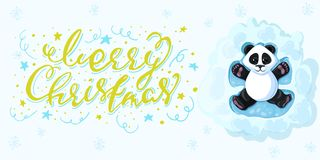 Merry Christmas Calligraphy Inscription Panda is lying in the snow playing snow angels. Design element for banner, card, invitation, postcard, template Royalty Free Stock Photo