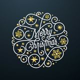 Merry Christmas calligraphy lettering and golden snowflake pattern decoration on white background for Xmas greeting card design. V. Ector golden Christmas Royalty Free Stock Photos