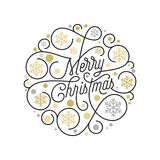 Merry Christmas calligraphy lettering and golden snowflake pattern on white background for Xmas greeting card design. Vector golde. N Christmas flourish swash Royalty Free Stock Images