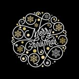Merry Christmas calligraphy lettering and golden snowflake pattern on white background for Xmas greeting card design. Vector golde. N Christmas flourish swash Stock Photos