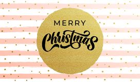 Merry Christmas calligraphy lettering with golf foil circle and golden snowflakes on stripe pattern background. Xmas holiday