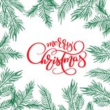 Merry Christmas Calligraphy Lettering text and and frame with fir tree branches. Vector illustration.  Royalty Free Stock Image
