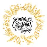 Merry Christmas Calligraphy Lettering text and a gold wreath with fir tree branches. Vector illustration.  Stock Photos
