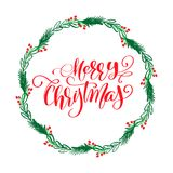 Merry Christmas Calligraphy Lettering text and a wreath with fir tree branches.. Merry Christmas Calligraphy Lettering text and a wreath with fir tree branches Stock Photos