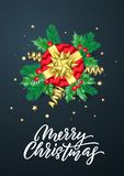 Merry Christmas calligraphy lettering, Xmas gifts, gold stars sparkling confetti. Christmas holiday glittery decorations on vector. Black background stock illustration