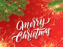 Merry Christmas calligraphy lettering, Xmas gold stars. Vector Christmas tree ornaments and glittery firework sparkles. Merry Christmas calligraphy lettering and vector illustration
