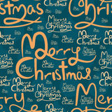 Merry Christmas calligraphy seamless pattern Royalty Free Stock Photo