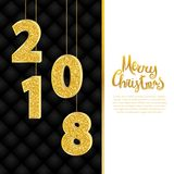 Merry Christmas calligraphy, sparkling 2018 numerals. Greeting card vector illustration. Glitter gold numbers on black upholstery leather background Stock Photos