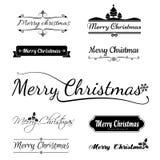 Merry christmas calligraphy text,  on white background Stock Photos