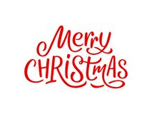 Merry Christmas calligraphy text on white card royalty free stock image