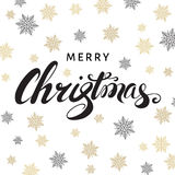 Merry Christmas calligraphy  on white  background with golden  s. Merry Christmas calligraphy with golden  snowflakes on white  background. Vector greeting  card Stock Image