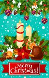 Merry Christmas candle wreath vector greeting card royalty free illustration